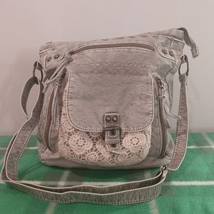 Maurice's grey leather lace satchel crossbody